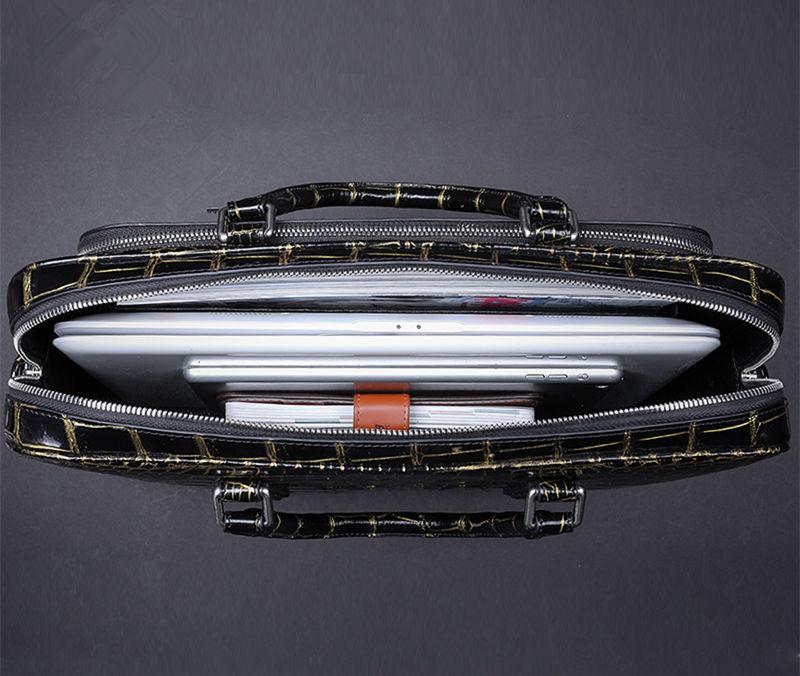 Mens Alligator Leather Briefcase Shoulder Laptop Business Bag-Inside