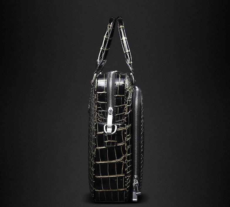 Mens Alligator Leather Briefcase Shoulder Laptop Business Bag-Side
