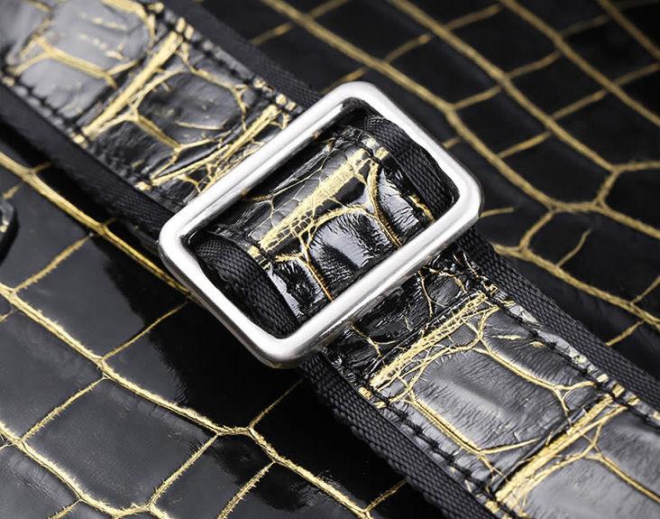 Mens Alligator Leather Briefcase Shoulder Laptop Business Bag-removable shoulder strap
