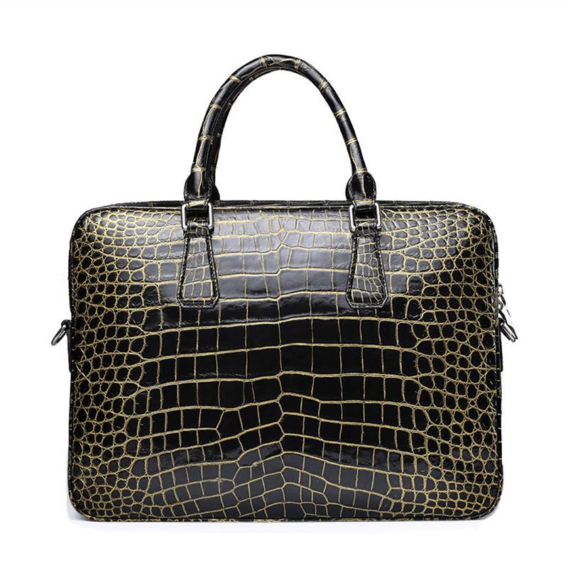 Mens Alligator Leather Briefcase Shoulder Laptop Business Bag