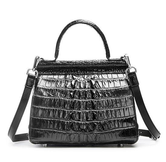 Style Crocodile Handbag Shoulder Bag Evening Bag-Black-Back