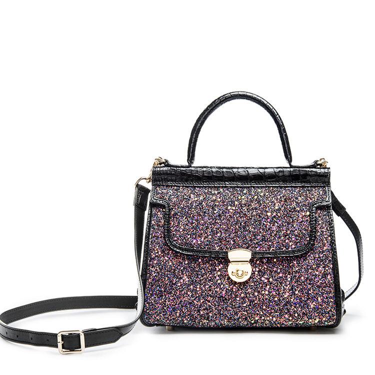 Style Crocodile Handbag Shoulder Bag Evening Bag-Black