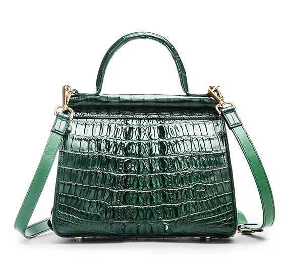 Style Crocodile Handbag Shoulder Bag Evening Bag-Green-Back