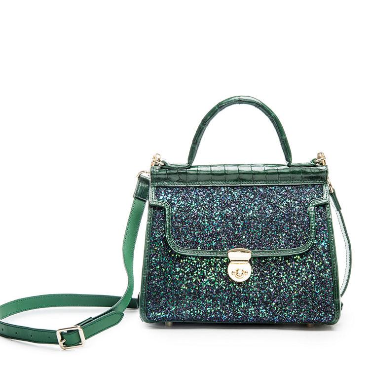Style Crocodile Handbag Shoulder Bag Evening Bag-Green