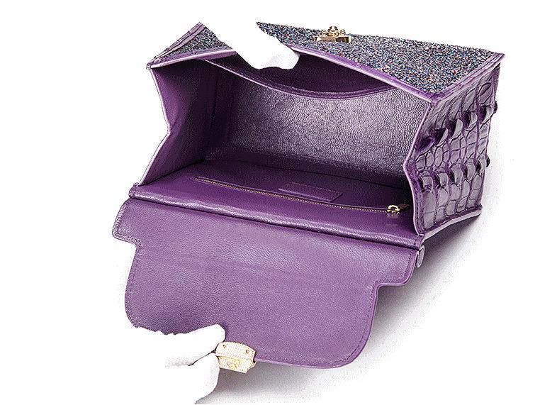 Style Crocodile Handbag Shoulder Bag Evening Bag-Inside