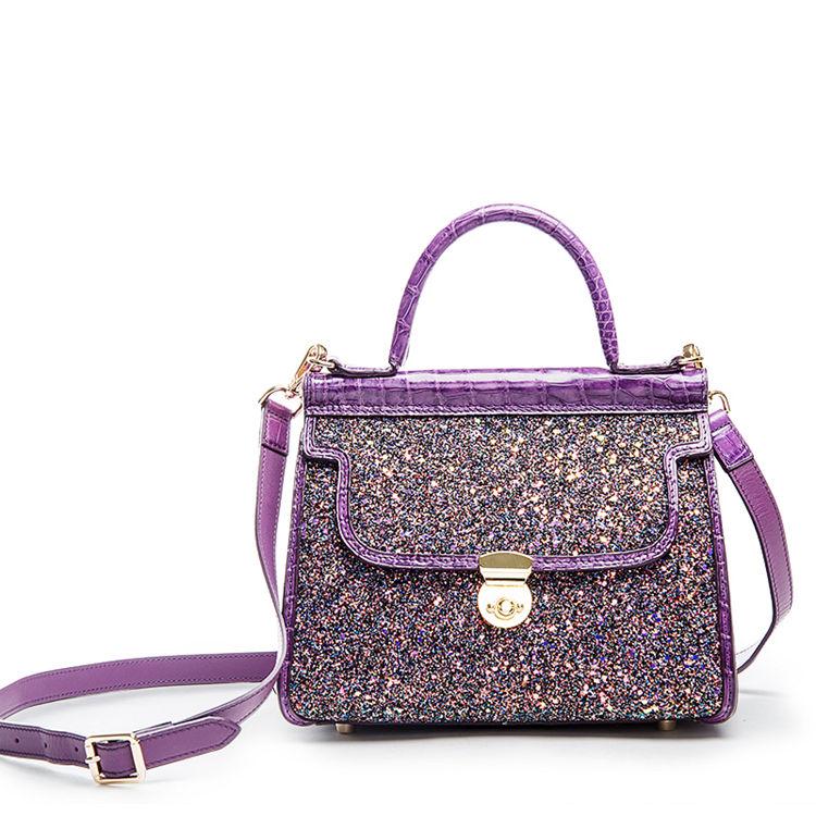 Style Crocodile Handbag Shoulder Bag Evening Bag-Purple