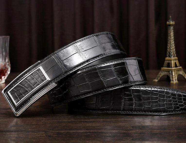 Stylish Alligator Belt, Casual Alligator Belt-Black-Exhibition