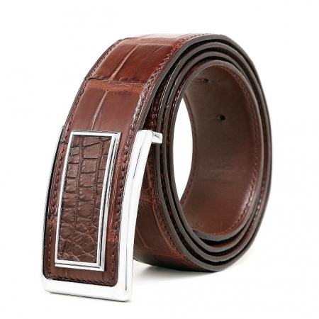 Stylish Alligator Belt, Casual Alligator Belt-Brown