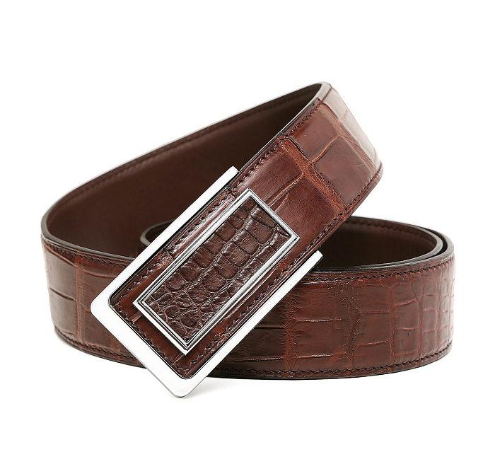 Stylish Alligator Belt, Casual Alligator Belt-Brown-Buckle