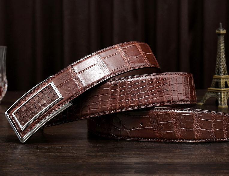 Stylish Alligator Belt, Casual Alligator Belt-Brown-Exhibition