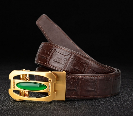 Unique Mens Alligator Belt With Agate Buckle-Exhibitions