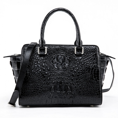 Womens Crocodile Top Handle Satchel, Crocodile Handbags Shoulder Bag-Black