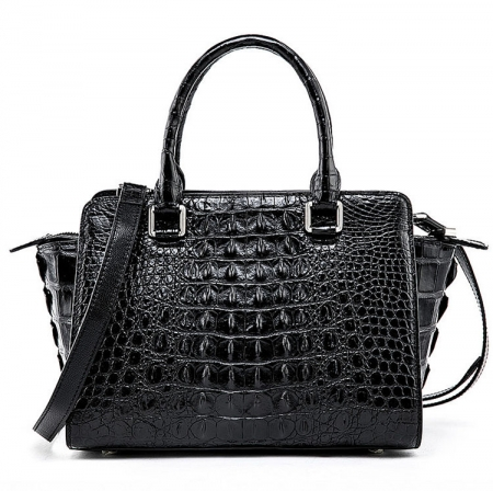 Womens Crocodile Top Handle Satchel, Crocodile Handbags Shoulder Bag-Black-Back