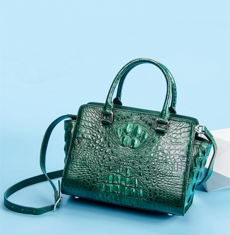 Womens Crocodile Top Handle Satchel, Crocodile Handbags Shoulder Bag-Green-Exhibition