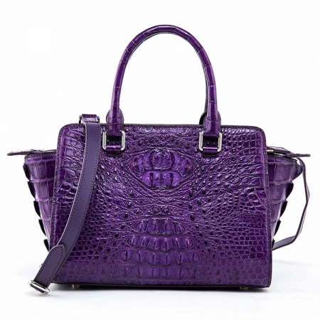 Womens Crocodile Top Handle Satchel, Crocodile Handbags Shoulder Bag-Purple