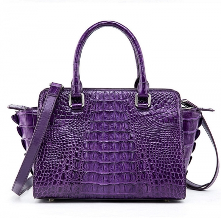 Womens Crocodile Top Handle Satchel, Crocodile Handbags Shoulder Bag-Purple-Back