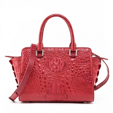 Womens Crocodile Top Handle Satchel, Crocodile Handbags Shoulder Bag-Red