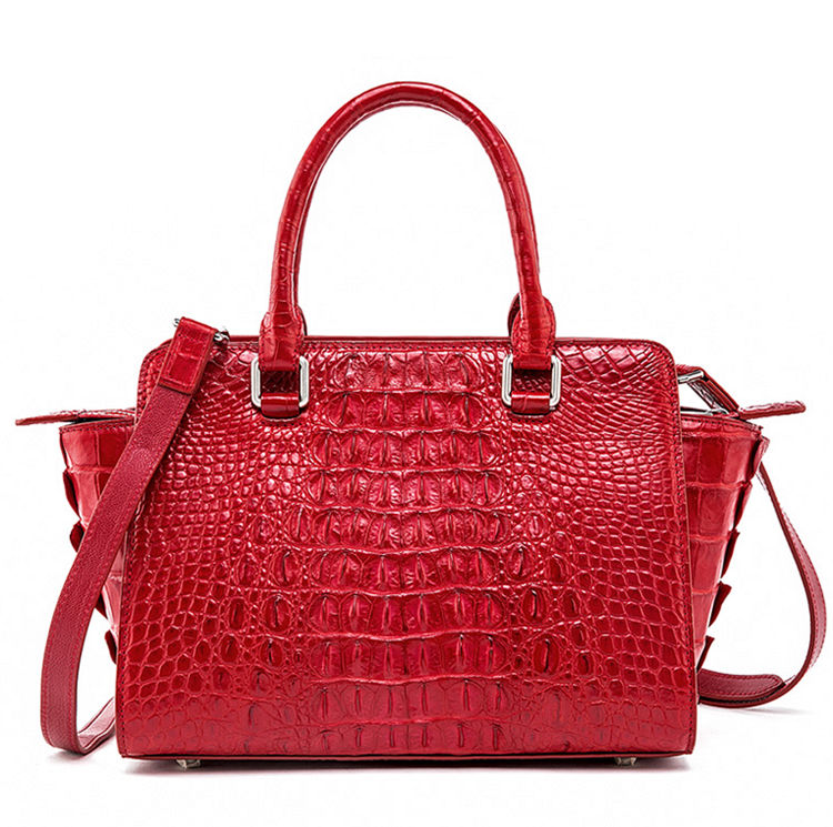 Womens Crocodile Top Handle Satchel, Crocodile Handbags Shoulder Bag-Red-Back