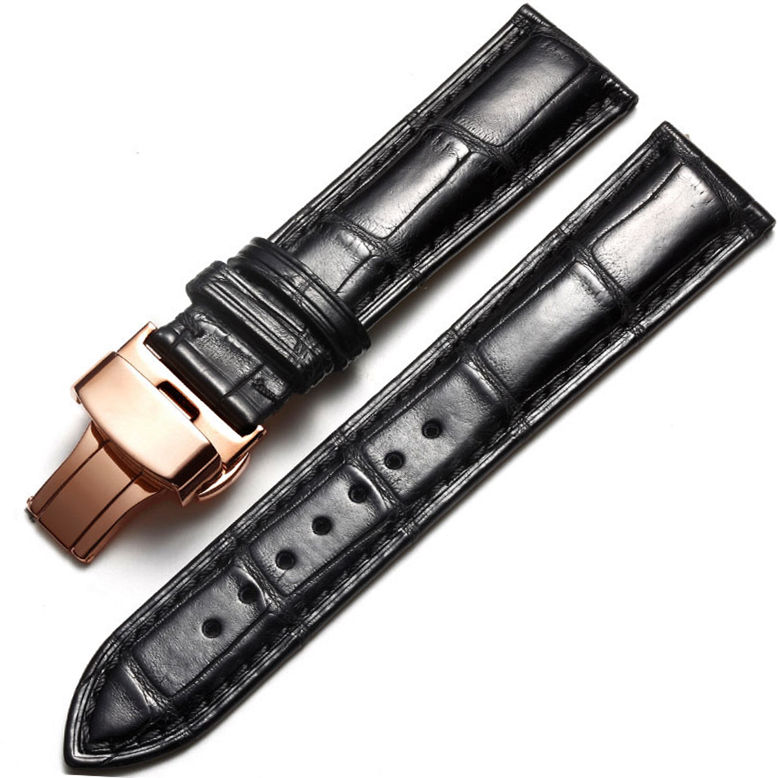 Alligator & Crocodile Apple Watch Band Black with Rose Gold Adapter