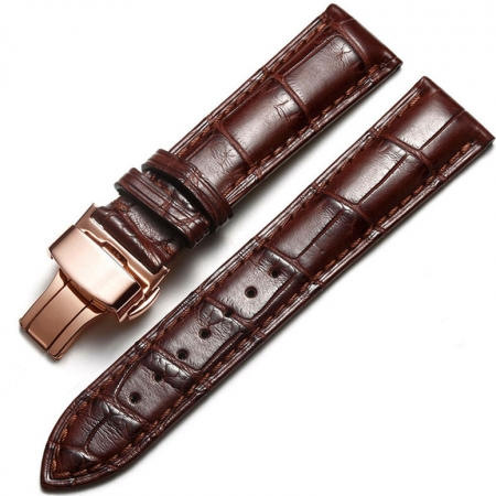 Alligator & Crocodile Apple Watch Band Brown with Rose Gold Adapter