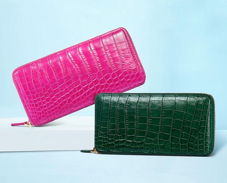 Alligator Leather Purse, Large Capacity Alligator Skin Clutch Wallet-3
