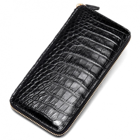 Alligator Leather Purse, Large Capacity Alligator Skin Clutch Wallet-Black