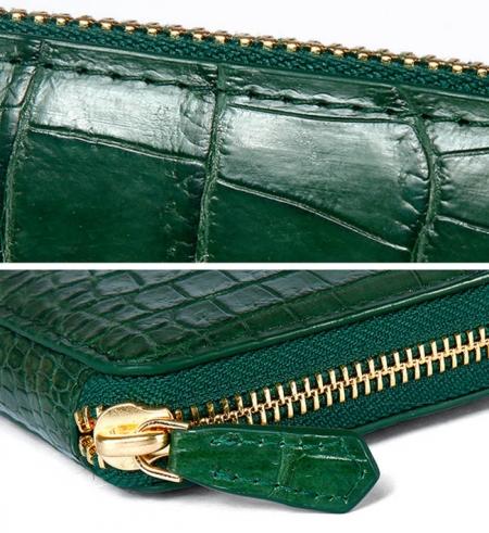 Alligator Leather Purse, Large Capacity Alligator Skin Clutch Wallet-Details