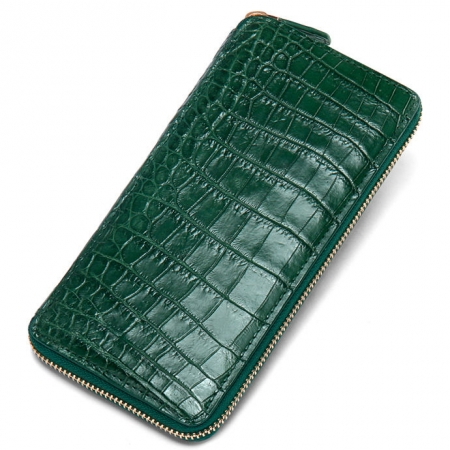 Alligator Leather Purse, Large Capacity Alligator Skin Clutch Wallet-Green