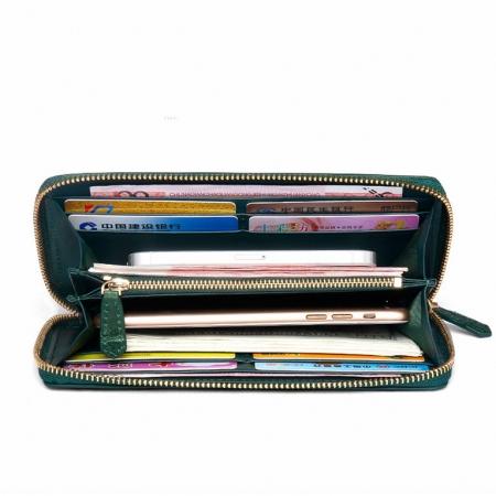 Alligator Leather Purse, Large Capacity Alligator Skin Clutch Wallet-Inside