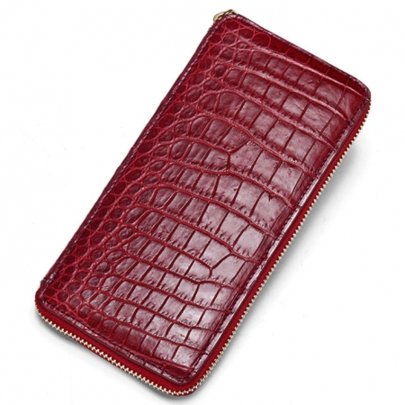 Alligator Leather Purse, Large Capacity Alligator Skin Clutch Wallet-Red