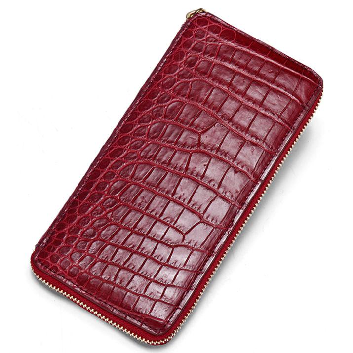 Alligator Leather Purse, Large Capacity Alligator Skin Clutch Wallet-Red