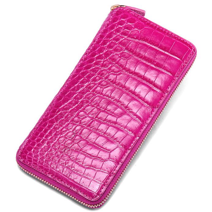 Alligator Leather Purse, Large Capacity Alligator Skin Clutch Wallet-Rose Red