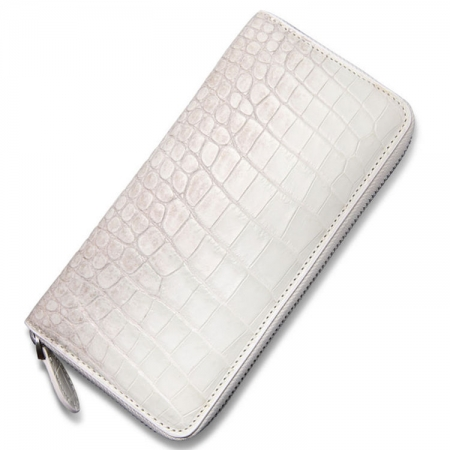 Alligator Leather Purse, Large Capacity Alligator Skin Clutch Wallet-White