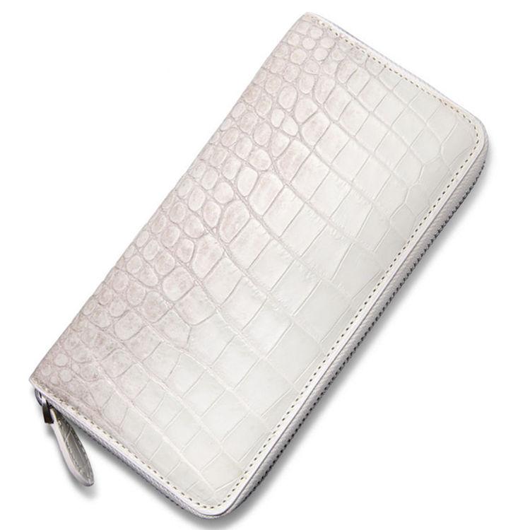 Alligator Leather Purse, Large Capacity Alligator Skin Clutch Wallet-White
