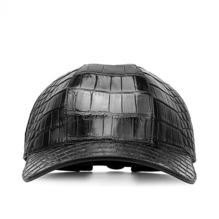 Alligator Skin Hat Baseball Cap-Black-Front