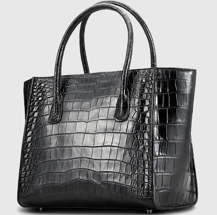 Alligator Skin Top Handle Handbag Tote Bag-1