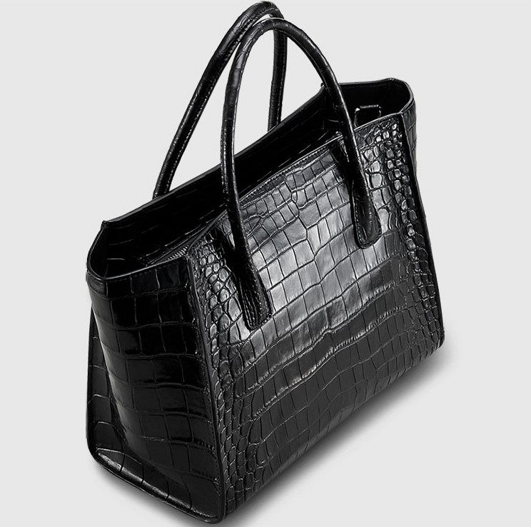 Alligator Skin Top Handle Handbag Tote Bag-2