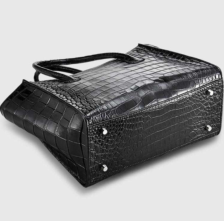 Alligator Skin Top Handle Handbag Tote Bag-Bottom
