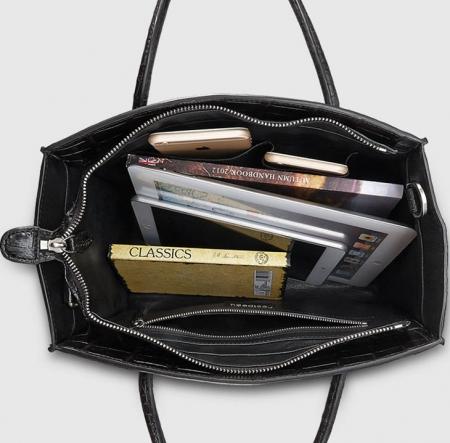 Alligator Skin Top Handle Handbag Tote Bag-Inside