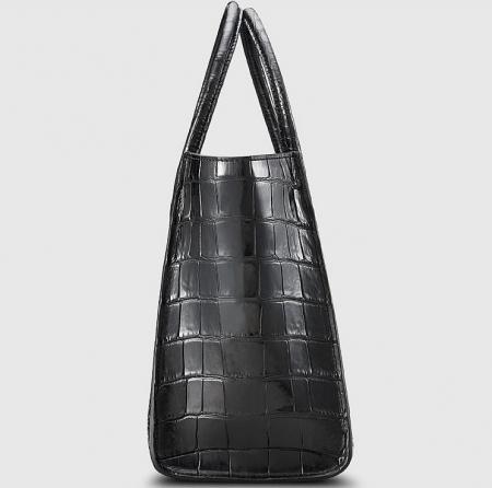 Alligator Skin Top Handle Handbag Tote Bag-Side