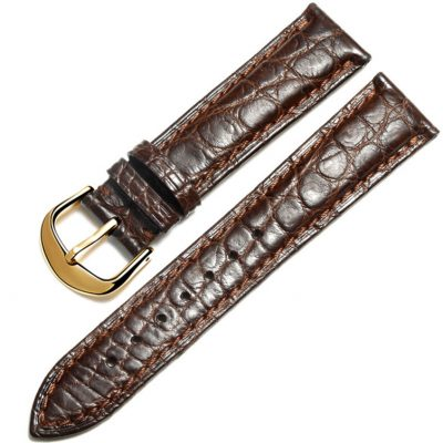Brown Crocodile & Alligator Skin Apple Watch Band with Brown Adapter