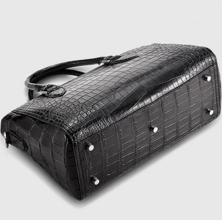 Casual Alligator Leather Tote Shoulder Handbag for Women-Bottom
