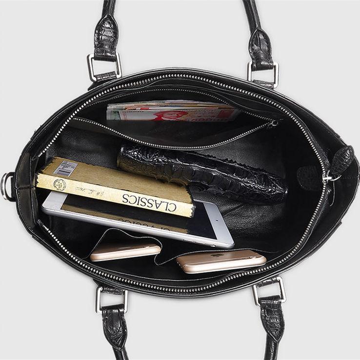 Casual Alligator Leather Tote Shoulder Handbag for Women-Inside