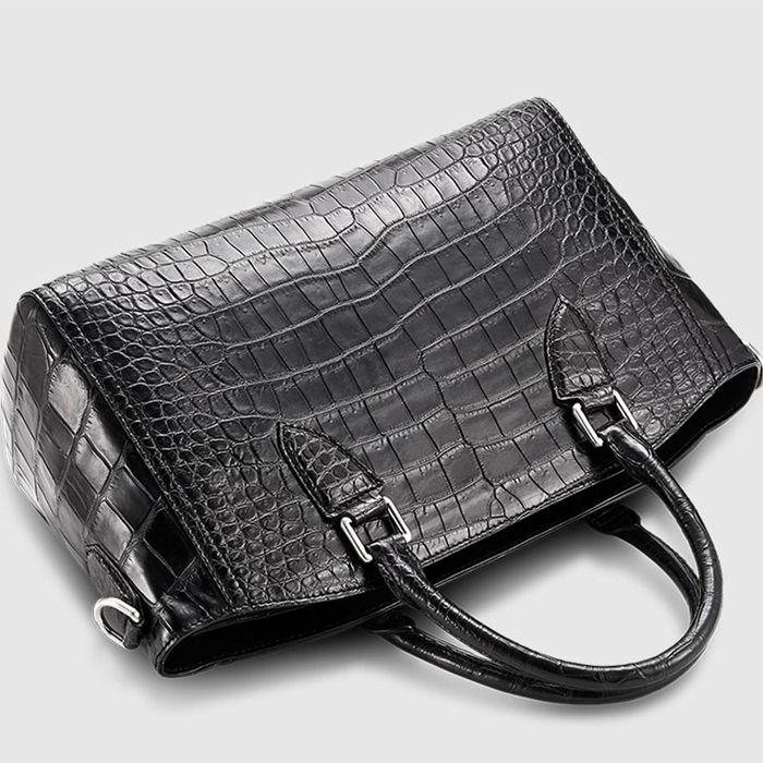 Casual Alligator Leather Tote Shoulder Handbag for Women-Top