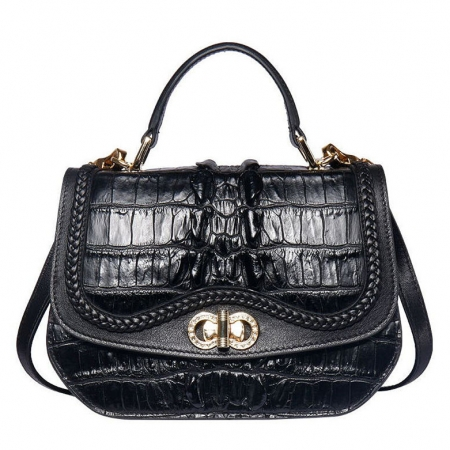 Chic and Stylish Crocodile Handbag, Crocodile Purse-Black
