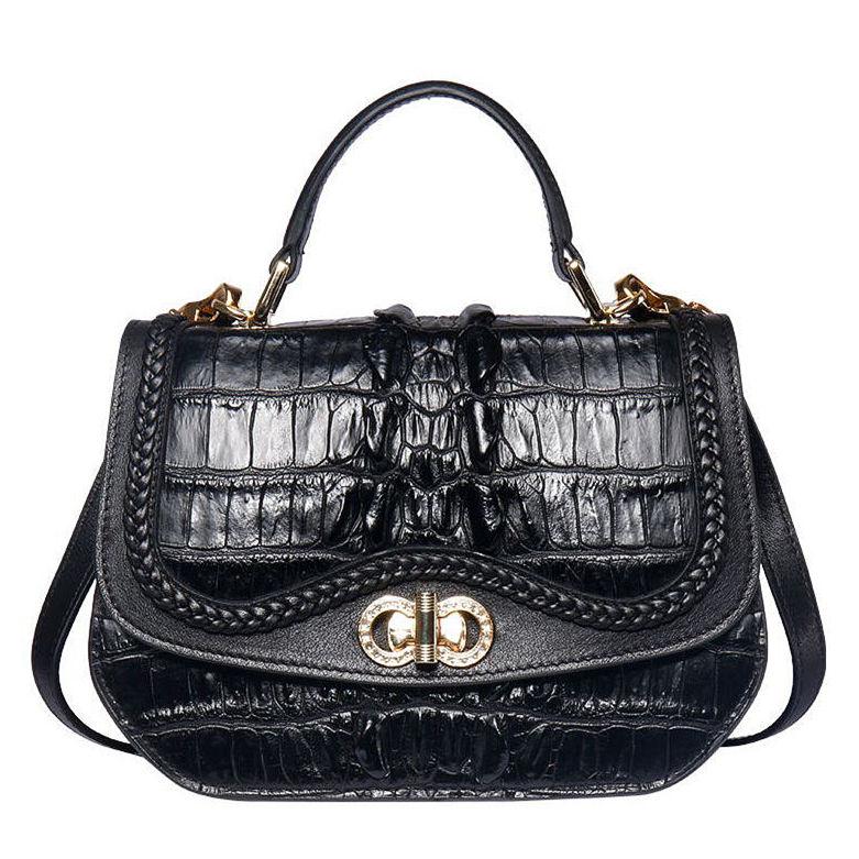 Chic and Stylish Crocodile Handbag, Crocodile Purse-Black