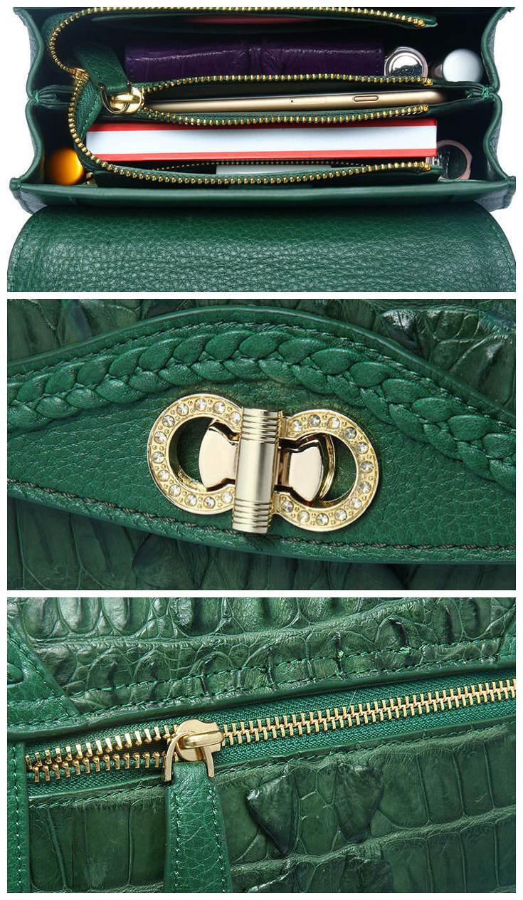 Chic and Stylish Crocodile Handbag, Crocodile Purse-Details