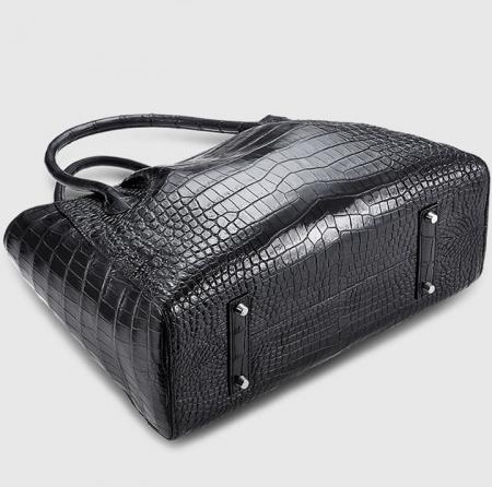 Classic Alligator Skin Tote Shoulder Handbag Shopping Travel Carry on Purse Bag-Bottom
