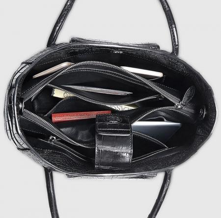Classic Alligator Skin Tote Shoulder Handbag Shopping Travel Carry on Purse Bag-Inside