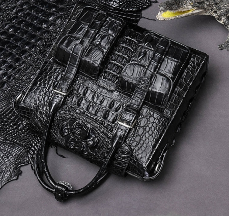 Crocodile Briefcase Shoulder Cross-body Laptop Bag